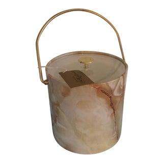 Vintage Mid-Century Modern Marbelized Kraftware Ice Bucket For Sale