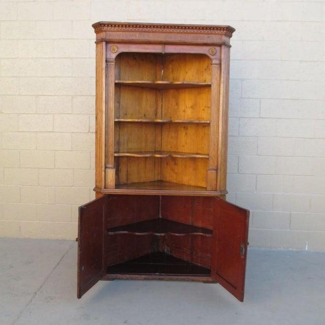 Late 19th Century Antique Pine Corner Cabinet Hutch For Sale - Image 5 of 8 - Antique Pine Corner Cabinet Hutch Chairish