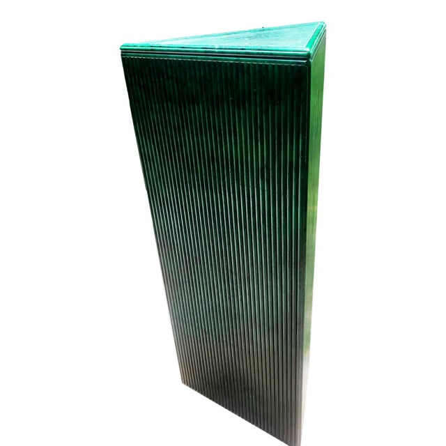 Late 20th Century Hand Painted Malachite Split Reed Geometric Pedestal Table For Sale - Image 5 of 7