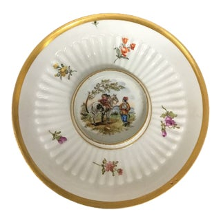 Small Vintage Meissen Marcolini Porcelain Plate With Flowers and Gold Trim For Sale
