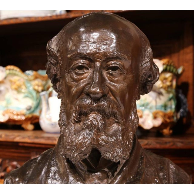 Gold 19th Century French Bronze Bust Signed by Jean-Francois Delorme For Sale - Image 8 of 9