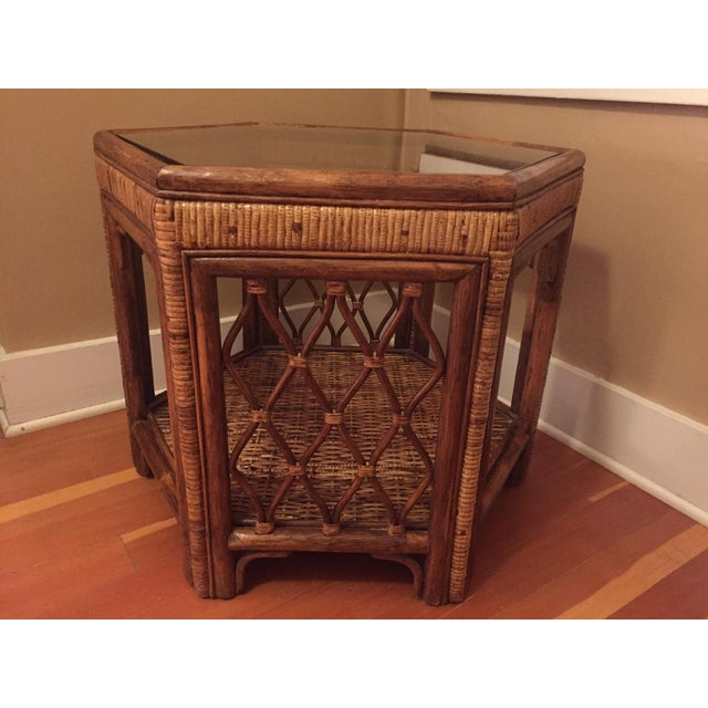 Boho Woven Rattan Side Table - Image 5 of 7