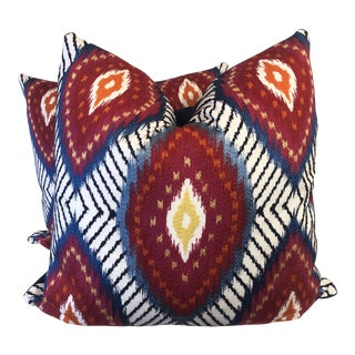 """Bright Ikat Embroidered 22"""" Pillows-A Pair For Sale"""