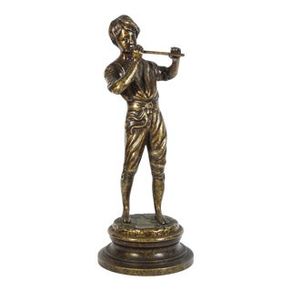 Bronze Sculpture of a Boy Playing the Flute For Sale