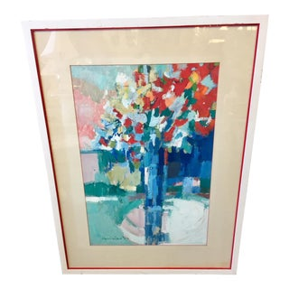 1960s Vintage Expressionistic Florals Oil Drawing For Sale