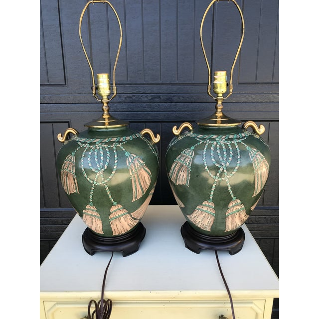 Vintage Hand Painted Tassel and Rope Lamps-A Pair For Sale - Image 4 of 13