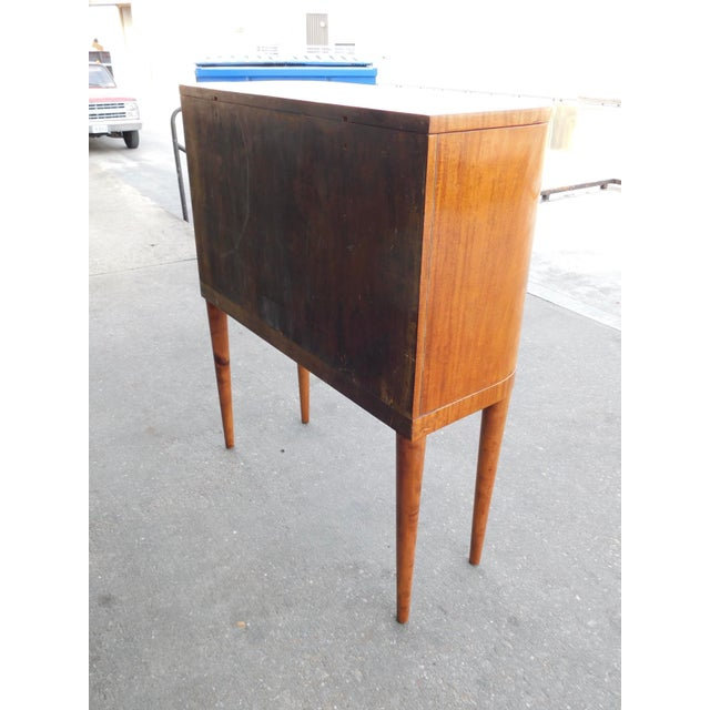 1940s Art Moderne Secretary Desk and Dry Bar in Honduran Mahogany For Sale - Image 11 of 13