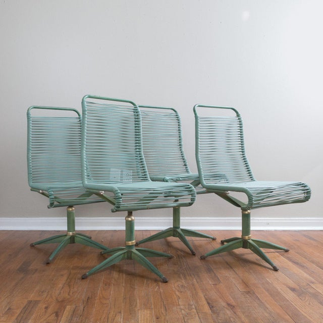 1950s Vintage Ames Aire Cabana Star Line Green Patio Chairs- Set of 4 For Sale - Image 11 of 11