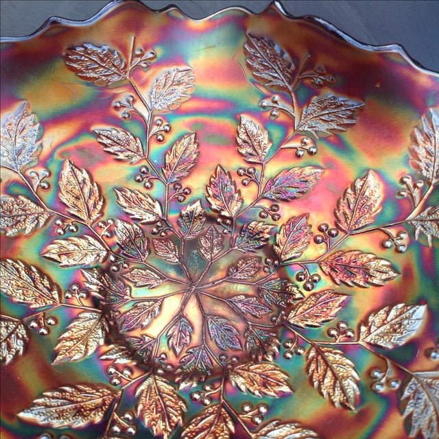 Fenton Art Glass Company Amethyst Carnival Glass Holly Bowl For Sale - Image 4 of 5