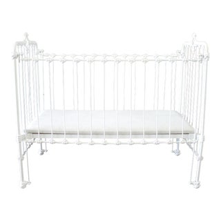 19th Century Shabby Chic Painted White Iron Crib Baby Bed For Sale