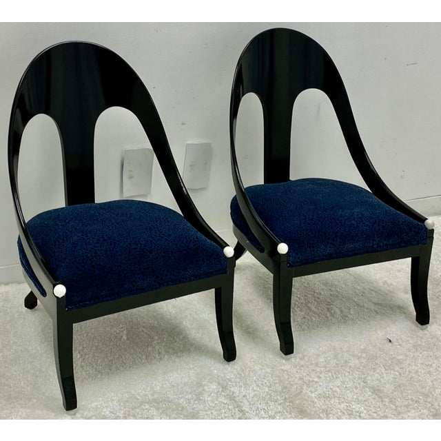 Textile Lacquered Modern Horseshoe Back Chairs Att. To Michael Taylor for Baker - a Pair For Sale - Image 7 of 8
