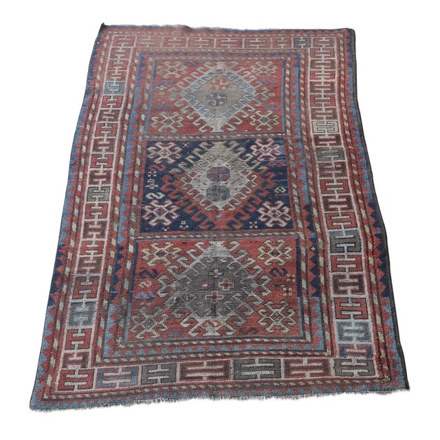 "Antique Distressed Caucasian Kazak - 3'9""x7'6"" For Sale"