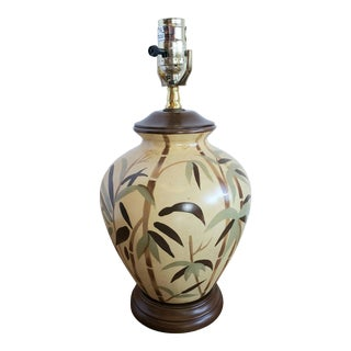 Vintage Small Porcelain Lamp Painted Bamboo Style For Sale
