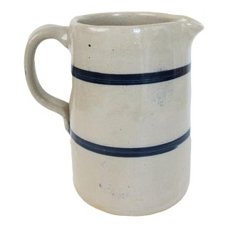 Vintage Small Blue and White Striped Pottery Stoneware Crock Pitcher For Sale