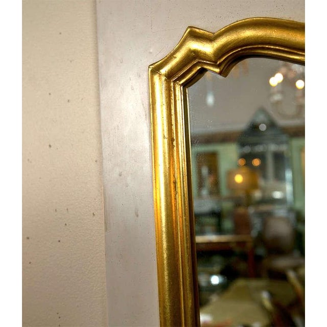 French Louis XVI Style Painted and Parcel Gilt Trumeau Mirror Exquisite Detail For Sale In New York - Image 6 of 7