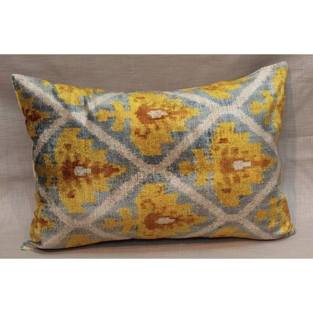 Lattice Ikat Silk Velvet Pillow - Image 2 of 4