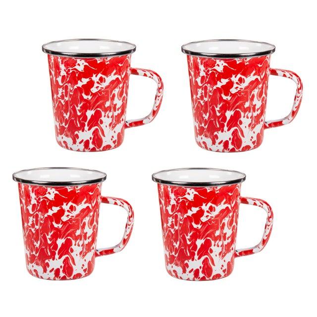 Modern Latte Mugs Red Swirl - Set of 4 For Sale - Image 3 of 3