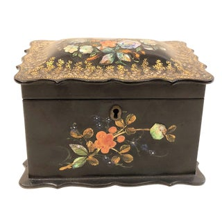 Antique English Victorian Paper Mache Tea Caddy, Circa 1850-1870. For Sale