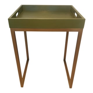 Modern Green & Gold Base Tray Side Table
