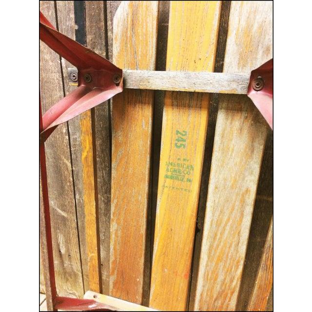 Vintage Weathered Wood & Metal Runner Sled -- Rocket Plane For Sale - Image 10 of 11