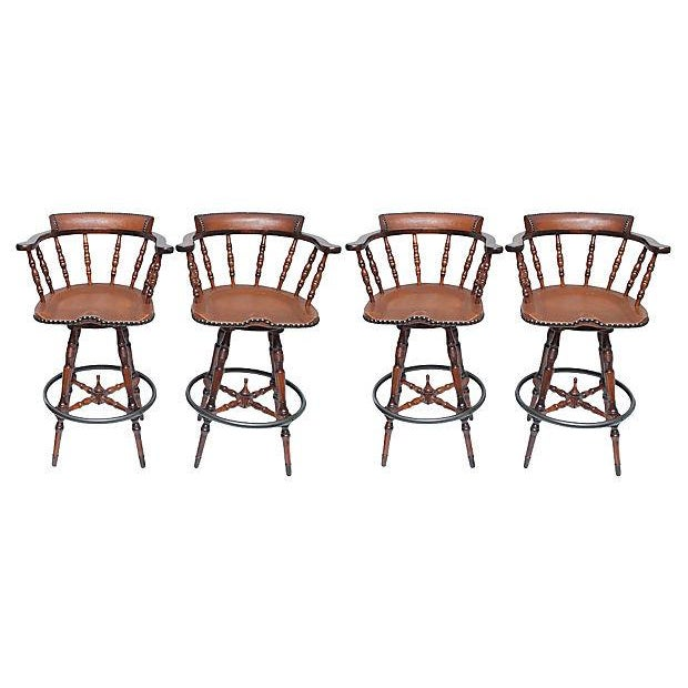 Contemporary Spanish Colonial Style Game Table & Chairs Set - Set of 5 For Sale - Image 3 of 11