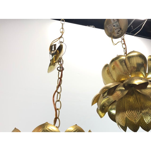 Pair of Brass Lotus Pendants For Sale - Image 10 of 12