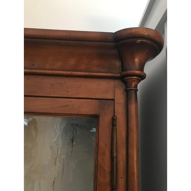 Brown Antique Armoire or Shelving Unit With Rolled Glass Door Panels For Sale - Image 8 of 9