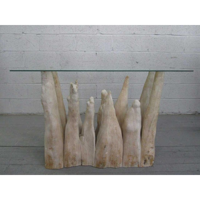 2000 - 2009 Organic Wood Glass Top Table For Sale - Image 5 of 5