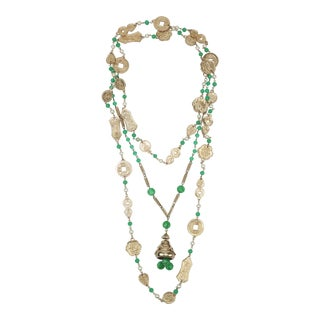 1960s Vintage Asian Gold Tone Coin Chain Necklaces With Jade Glass Beads - a Pair For Sale