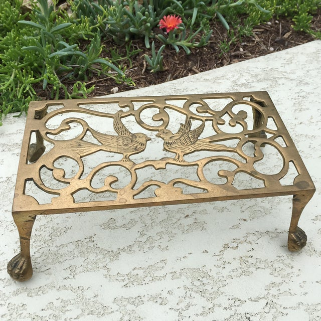 Mid-Century Solid Brass Bird Motif Plant Stand - Image 3 of 11