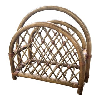 Vintage Bamboo Rattan and Leather Woven Magazine Rack For Sale