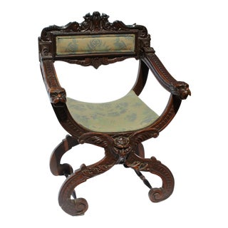 19th C. Italian Renaissance Style Savonarola Chair For Sale
