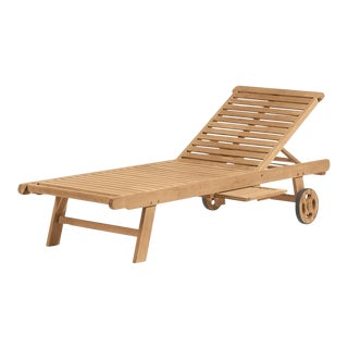 Teak Outdoor Chaise Lounge, Natural For Sale