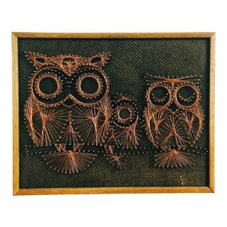 Mid Century Copper Wire Owl Art