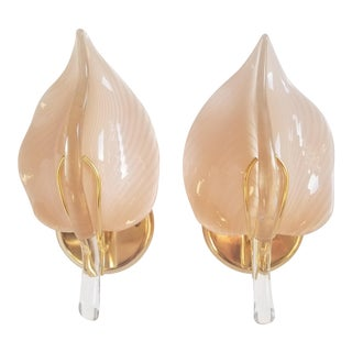 Murano Glass Leaf Form Franco Luce Style Wall Sconces-A Pair For Sale