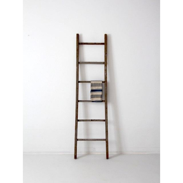 Antique Blue and Yellow Splatter Picking Ladder - Image 3 of 6