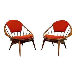 Mid-Century Danish Modern Hoop Lounge Chairs by Kofod-Larsen for Selig - a Pair For Sale