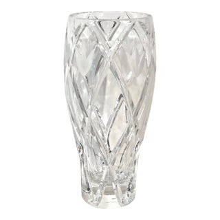 Lenox Savannah Giftware Flower Vase Cut Crystal Frosted Flowers For Sale