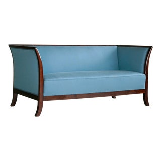 Frits Henningsen Style Settee in Mahogany by Søren Willadsen, Denmark, 1950s For Sale