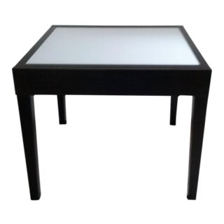 Italian Minimalist Extendable Dark Brown Wood and Glass Dining Table For Sale