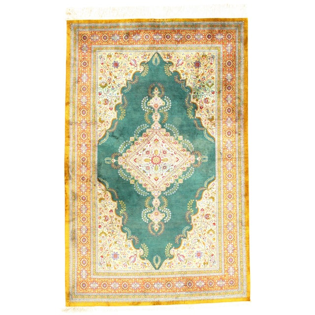 """1970s Persian Pasargad N Y Qum Hand Knotted Silk Area Rug - 4'2"""" X 6'6"""" For Sale"""