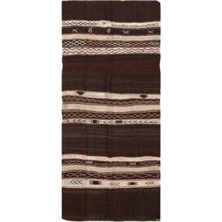 Vintage Moroccan Flat Woven Kilim Rug - 4′6″ × 10′2″ For Sale