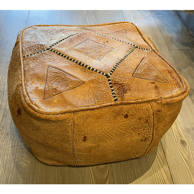 Leather Ornate Turkish Imprinted Leather Poof For Sale - Image 7 of 7