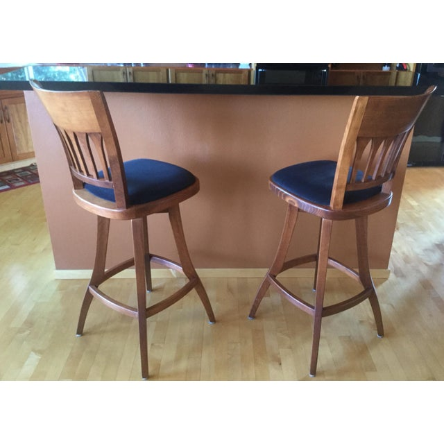 2010s Contemporary Custom Bar Stools With Cushioned Seats - a Pair For Sale - Image 5 of 6