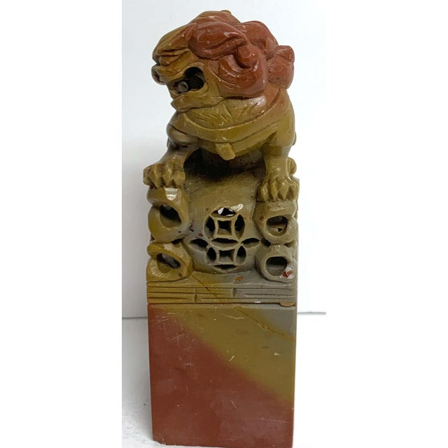 Large Chinese Export Carved Soapstone Foo Dog Scholars Seal For Sale - Image 10 of 12