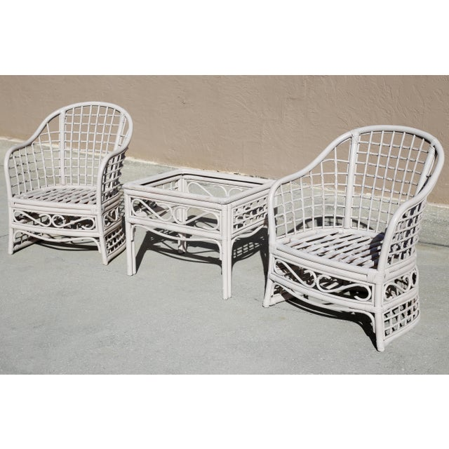Hollywood Regency Vintage Rattan Club Chairs and Side Table - Set of 3 For Sale - Image 3 of 10