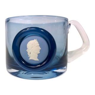 Wedgwood Jasperware Blue Glass Mug With Julius Caesar Ceramic Image For Sale