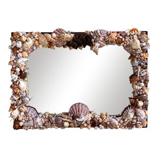 Custom Coastal Exquisite Shell Mirror For Sale