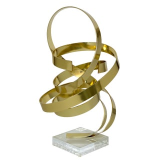 Dan Murphy Gold Tone Abstract Ribbon Sculpture For Sale