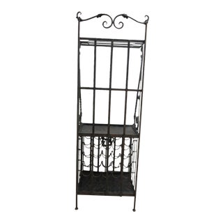 Vintage Wrought Iron Filigree Wine Rack For Sale